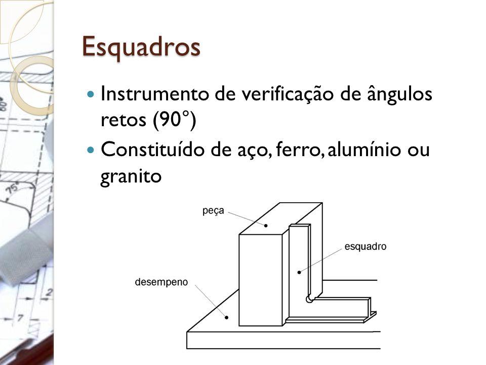 Esquadros Instrumento de verificação de ângulos retos (90°) Constituído de aço, ferro, alumínio ou granito