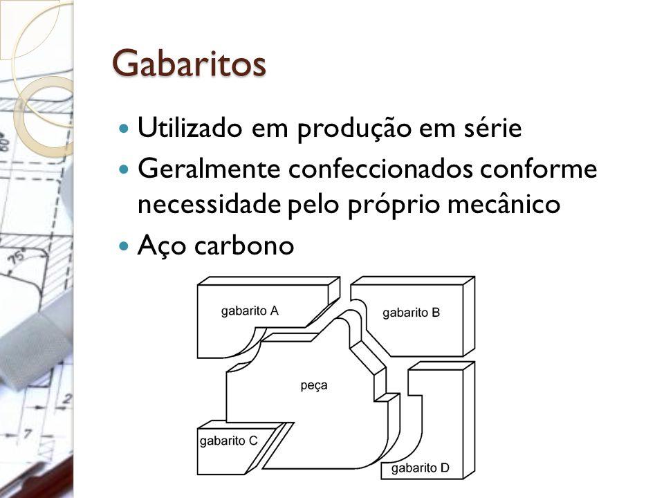Gabaritos Utilizado em produção em série Geralmente confeccionados conforme necessidade pelo próprio mecânico Aço carbono