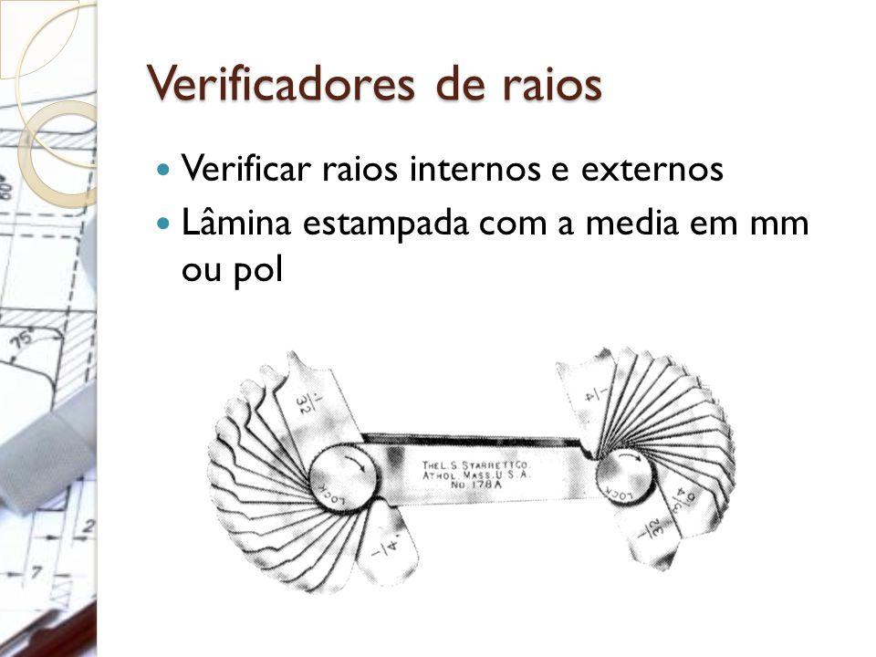 Verificadores de raios Verificar raios internos e externos Lâmina estampada com a media em mm ou pol