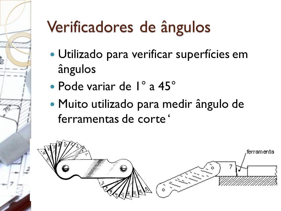 Verificadores de ângulos Utilizado para verificar superfícies em ângulos Pode variar de 1° a 45° Muito utilizado para medir ângulo de ferramentas de c