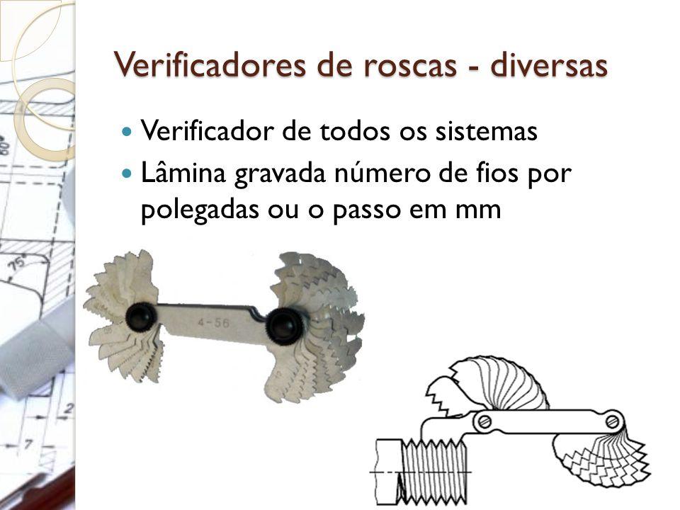 Verificadores de roscas - diversas Verificador de todos os sistemas Lâmina gravada número de fios por polegadas ou o passo em mm