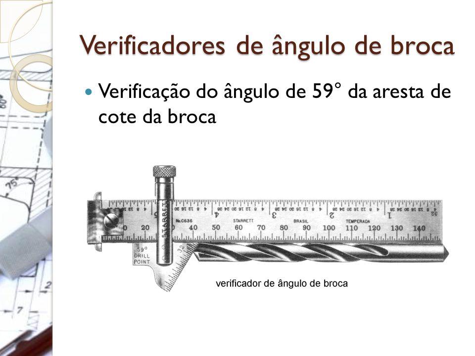 Verificadores de ângulo de broca Verificação do ângulo de 59° da aresta de cote da broca