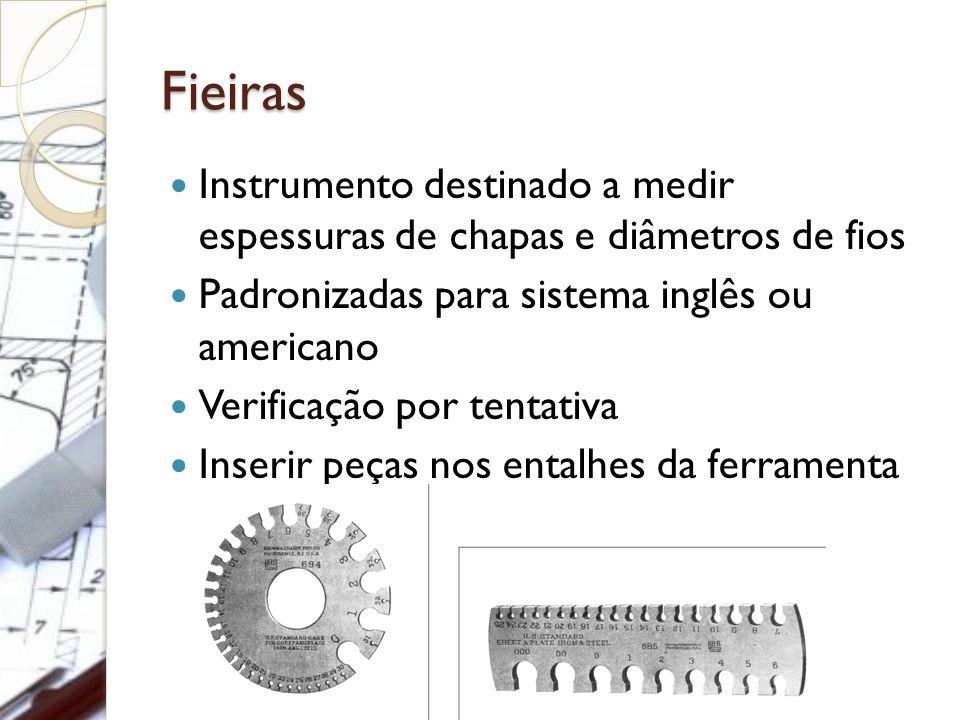 Fieiras Instrumento destinado a medir espessuras de chapas e diâmetros de fios Padronizadas para sistema inglês ou americano Verificação por tentativa