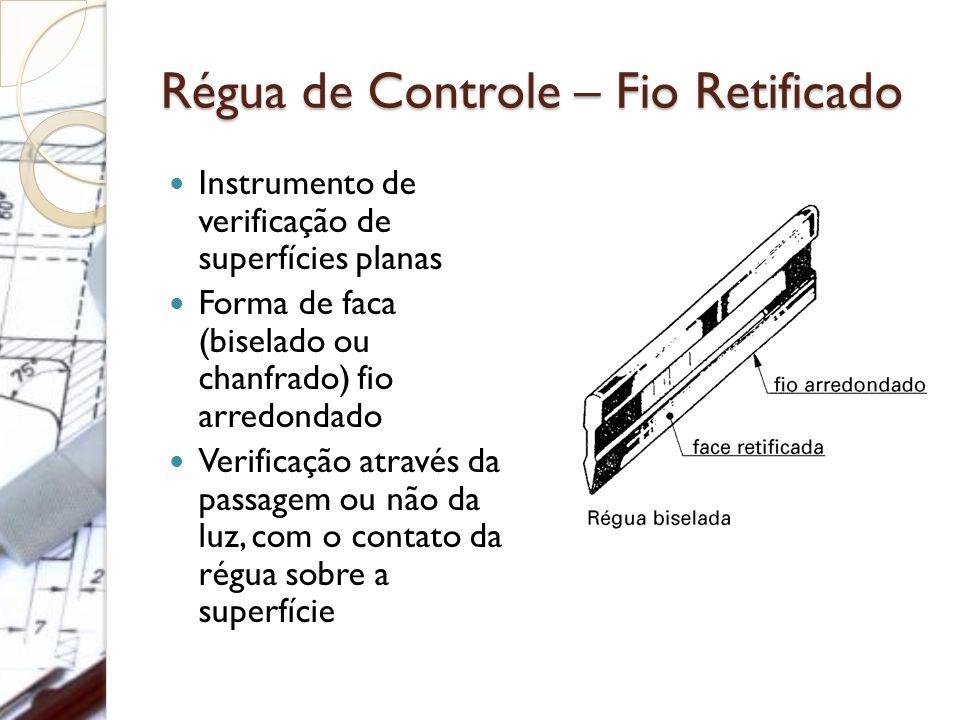 Régua de Controle – Fio Retificado Instrumento de verificação de superfícies planas Forma de faca (biselado ou chanfrado) fio arredondado Verificação