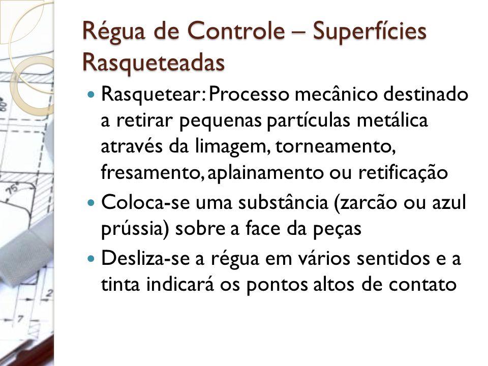 Régua de Controle – Superfícies Rasqueteadas Rasquetear: Processo mecânico destinado a retirar pequenas partículas metálica através da limagem, tornea