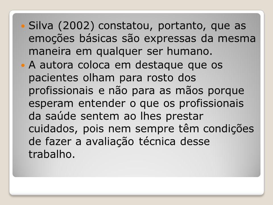 Silva (2002) constatou, portanto, que as emoções básicas são expressas da mesma maneira em qualquer ser humano. A autora coloca em destaque que os pac