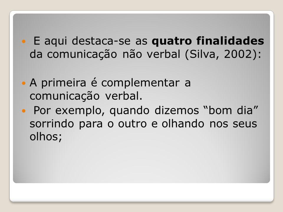 E aqui destaca-se as quatro finalidades da comunicação não verbal (Silva, 2002): A primeira é complementar a comunicação verbal. Por exemplo, quando d
