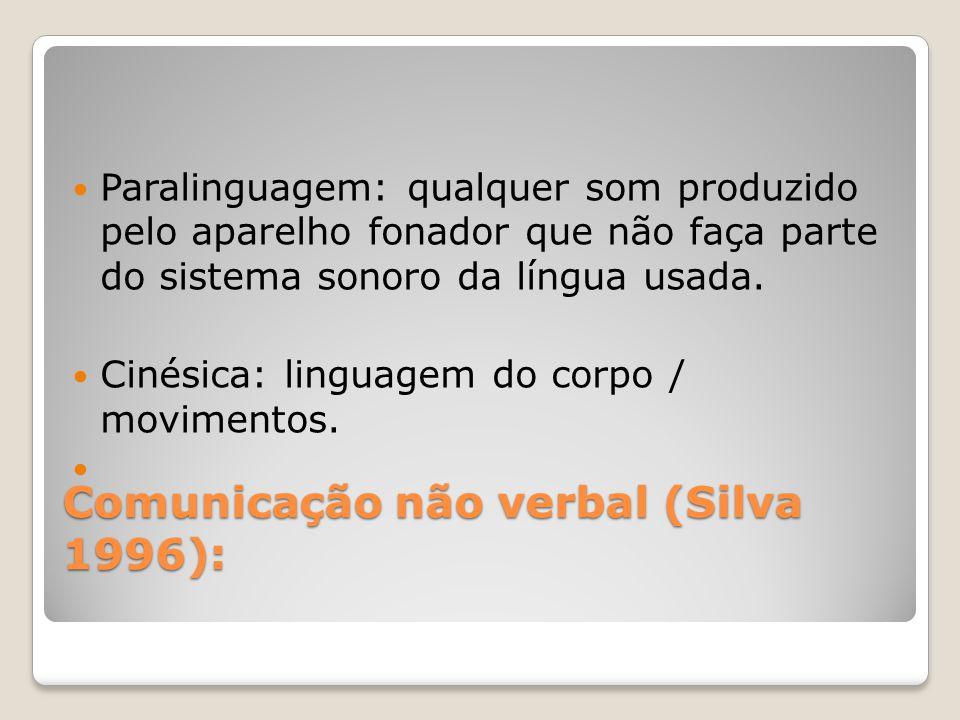 Comunicação não verbal (Silva 1996): Paralinguagem: qualquer som produzido pelo aparelho fonador que não faça parte do sistema sonoro da língua usada.