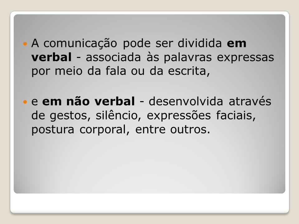 A comunicação pode ser dividida em verbal - associada às palavras expressas por meio da fala ou da escrita, e em não verbal - desenvolvida através de