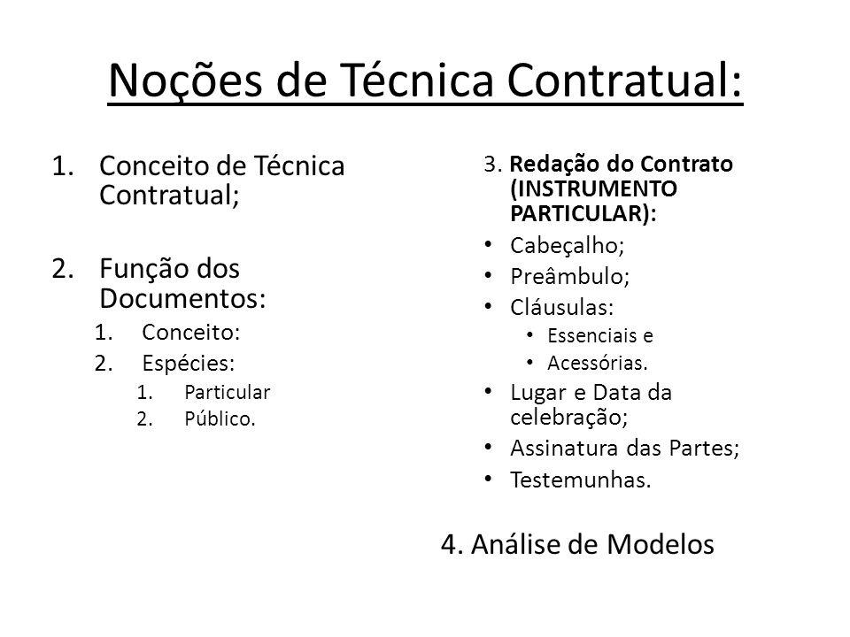 Noções de Técnica Contratual: 1.Conceito de Técnica Contratual; 2. Função dos Documentos: 1.Conceito: 2.Espécies: 1.Particular 2.Público. 3. Redação d