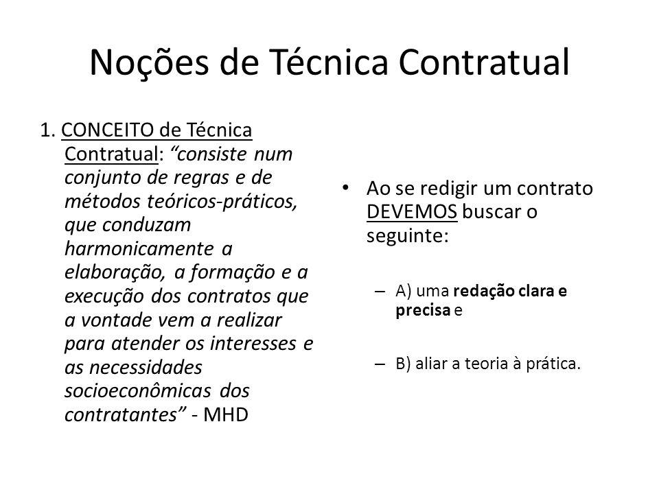 "Noções de Técnica Contratual 1. CONCEITO de Técnica Contratual: ""consiste num conjunto de regras e de métodos teóricos-práticos, que conduzam harmonic"