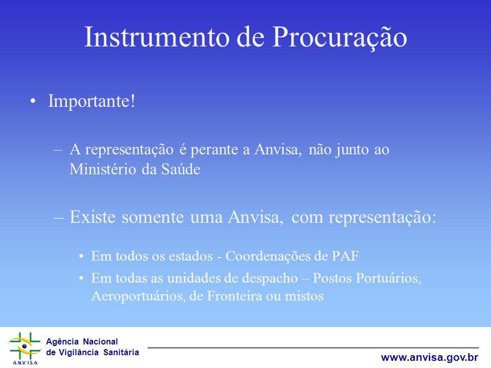 Agência Nacional de Vigilância Sanitária www.anvisa.gov.br Instrumento de Procuração Importante! –A representação é perante a Anvisa, não junto ao Min