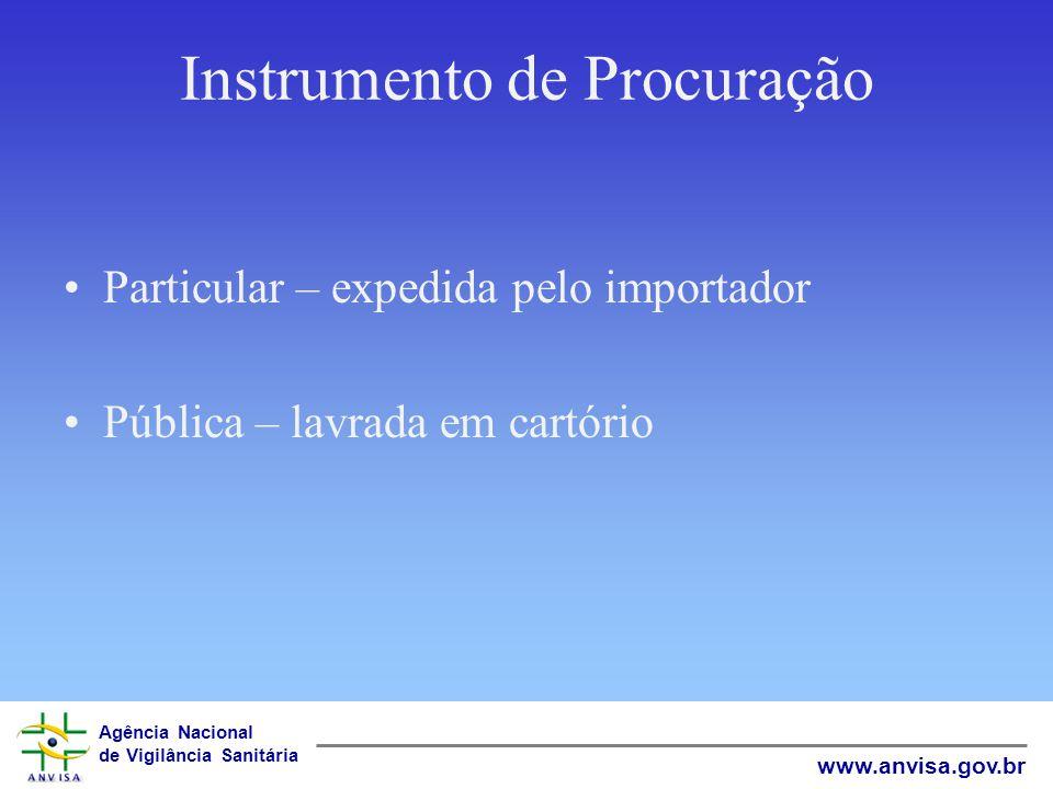 Agência Nacional de Vigilância Sanitária www.anvisa.gov.br Instrumento de Procuração Particular – expedida pelo importador Pública – lavrada em cartór