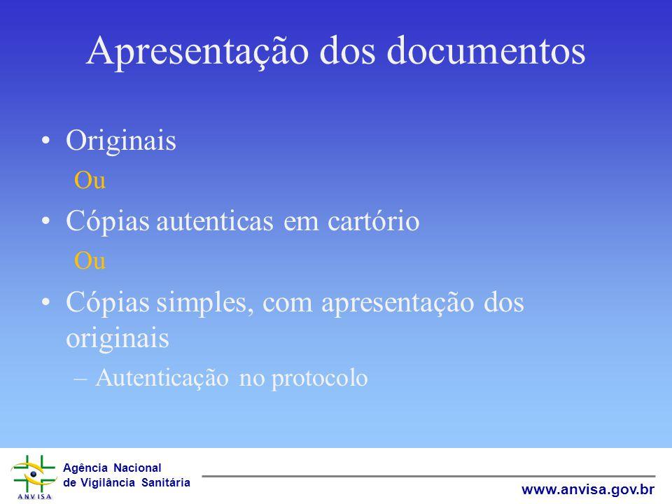 Agência Nacional de Vigilância Sanitária www.anvisa.gov.br Apresentação dos documentos Originais Ou Cópias autenticas em cartório Ou Cópias simples, c