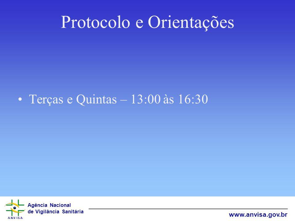 Agência Nacional de Vigilância Sanitária www.anvisa.gov.br Protocolo e Orientações Terças e Quintas – 13:00 às 16:30