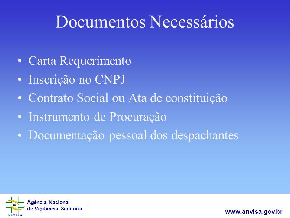 Agência Nacional de Vigilância Sanitária www.anvisa.gov.br Documentos Necessários Carta Requerimento Inscrição no CNPJ Contrato Social ou Ata de const