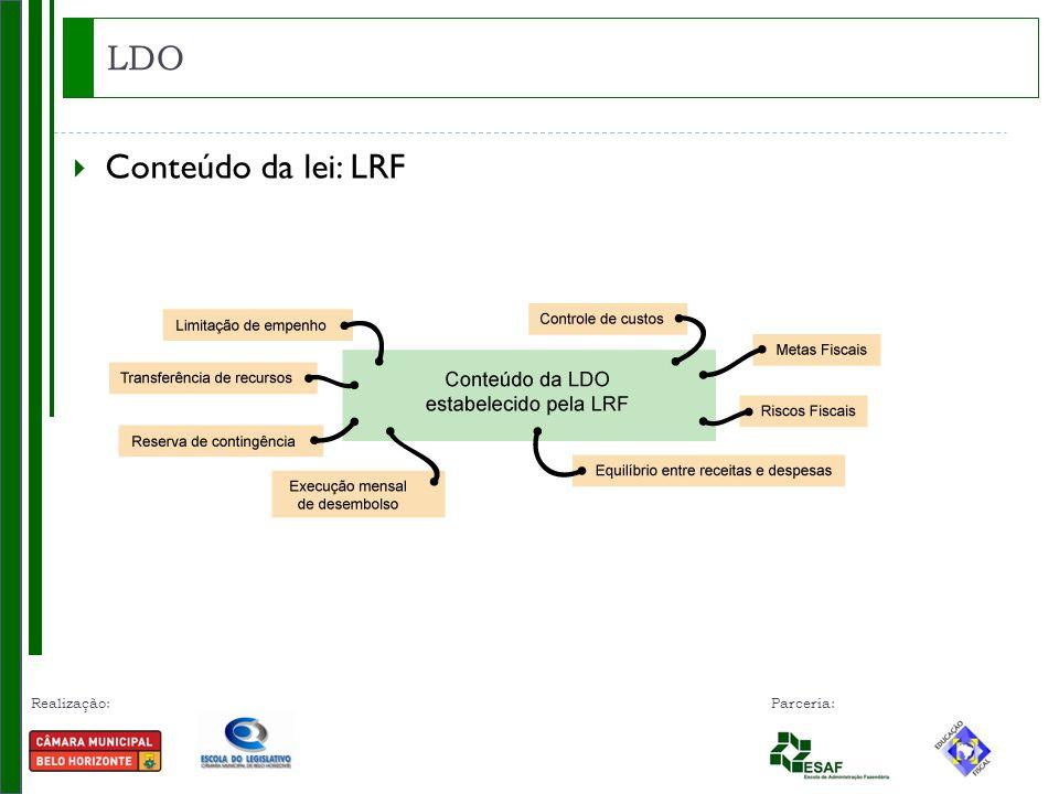 Realização: Parceria: LDO  Conteúdo da lei: LRF