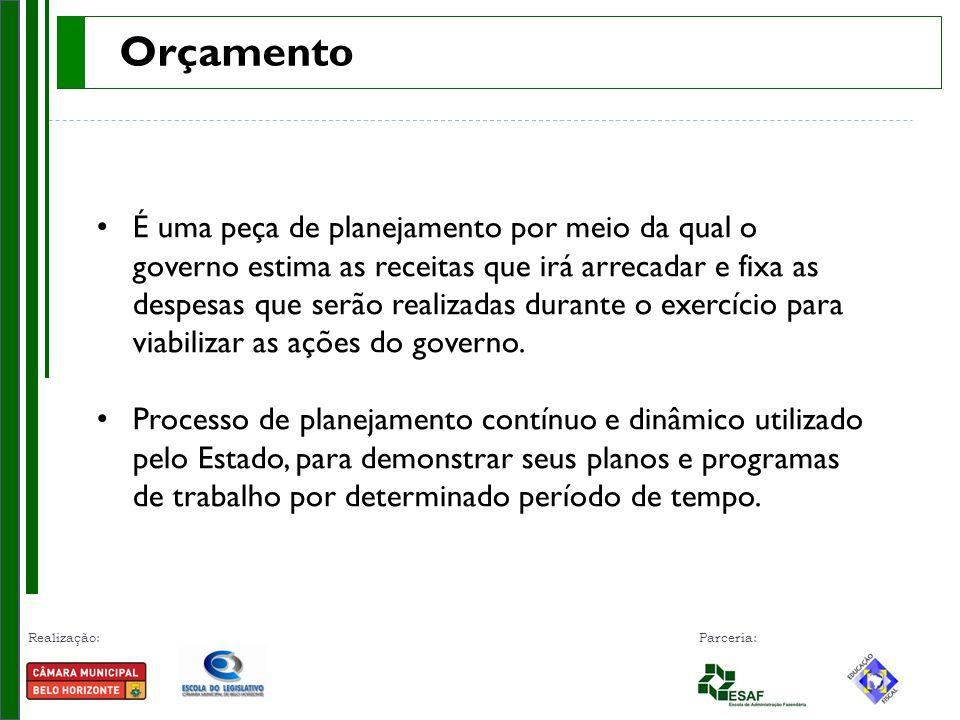 Realização: Parceria: Orçamento Público, instrumento capaz de: Orientar as decisões.