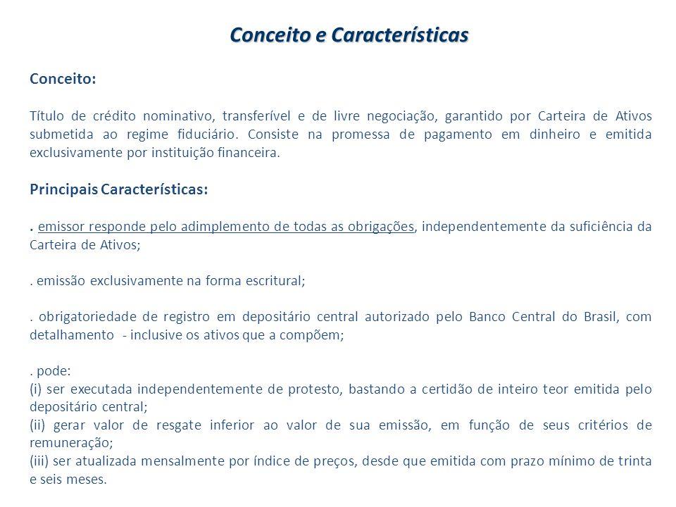 Conceito e Características Conceito: Título de crédito nominativo, transferível e de livre negociação, garantido por Carteira de Ativos submetida ao r