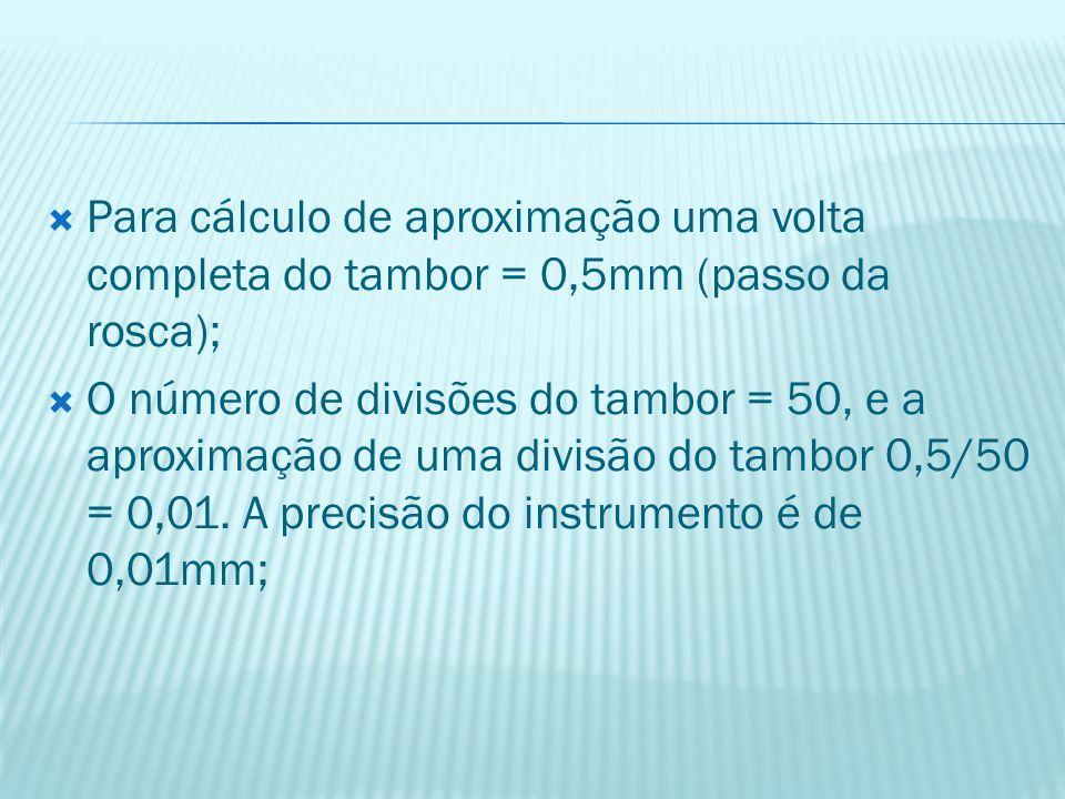  Para cálculo de aproximação uma volta completa do tambor = 0,5mm (passo da rosca);  O número de divisões do tambor = 50, e a aproximação de uma div