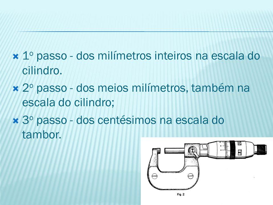  1 o passo - dos milímetros inteiros na escala do cilindro.  2 o passo - dos meios milímetros, também na escala do cilindro;  3 o passo - dos centé