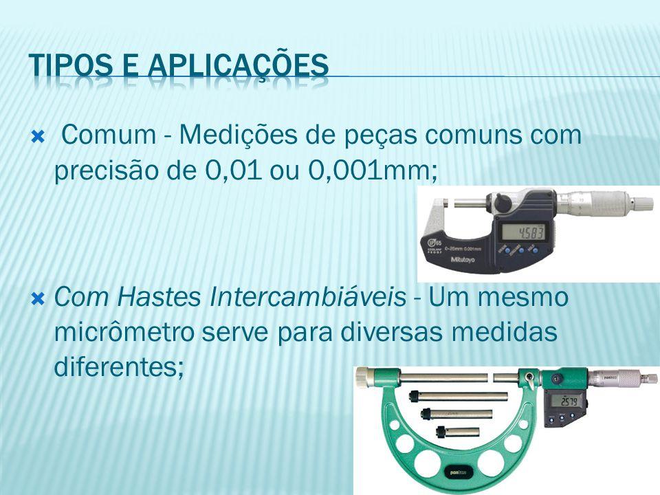  Comum - Medições de peças comuns com precisão de 0,01 ou 0,001mm;  Com Hastes Intercambiáveis - Um mesmo micrômetro serve para diversas medidas dif