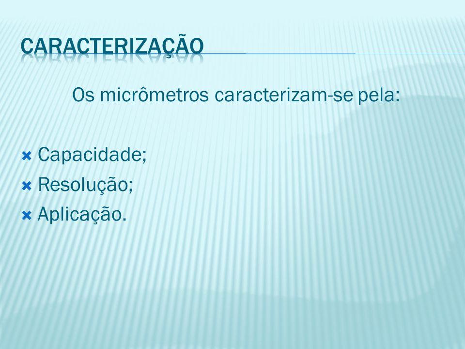 Os micrômetros caracterizam-se pela:  Capacidade;  Resolução;  Aplicação.