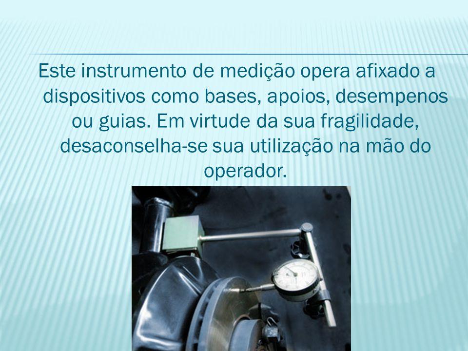 Este instrumento de medição opera afixado a dispositivos como bases, apoios, desempenos ou guias. Em virtude da sua fragilidade, desaconselha-se sua u