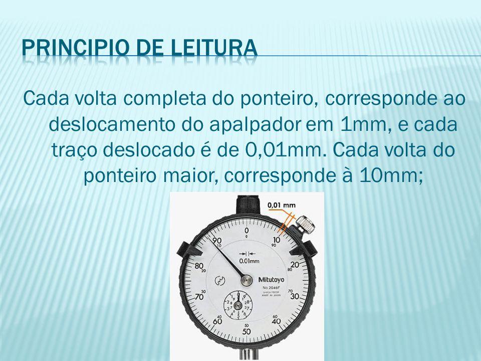 Cada volta completa do ponteiro, corresponde ao deslocamento do apalpador em 1mm, e cada traço deslocado é de 0,01mm. Cada volta do ponteiro maior, co