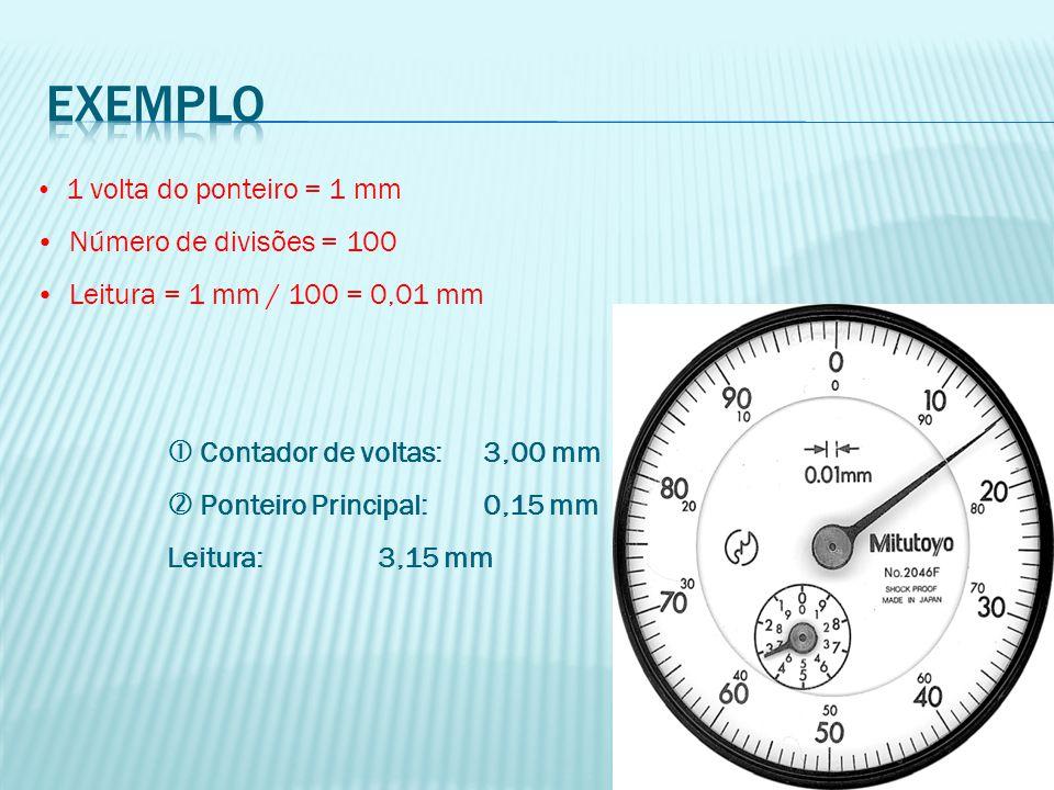 1 volta do ponteiro = 1 mm Número de divisões = 100 Leitura = 1 mm / 100 = 0,01 mm  Contador de voltas:3,00 mm  Ponteiro Principal:0,15 mm Leitura:3