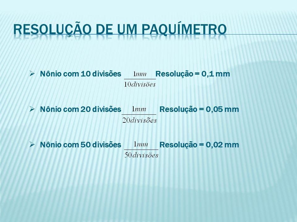  Nônio com 10 divisões Resolução = 0,1 mm  Nônio com 20 divisões Resolução = 0,05 mm  Nônio com 50 divisões Resolução = 0,02 mm