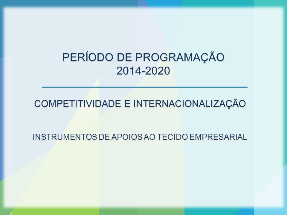 COMPETITIVIDADE E INTERNACIONALIZAÇÃO INSTRUMENTOS DE APOIOS AO TECIDO EMPRESARIAL COMPETITIVIDADE E INTERNACIONALIZAÇÃO INSTRUMENTOS DE APOIOS AO TECIDO EMPRESARIAL PERÍODO DE PROGRAMAÇÃO 2014-2020