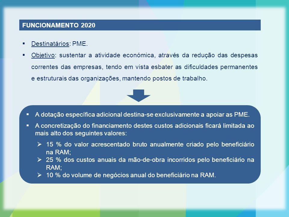 FUNCIONAMENTO 2020  Destinatários: PME.