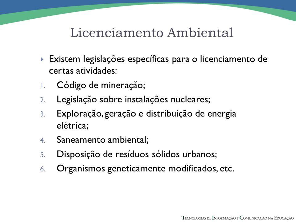  Existem legislações específicas para o licenciamento de certas atividades: 1. Código de mineração; 2. Legislação sobre instalações nucleares; 3. Exp