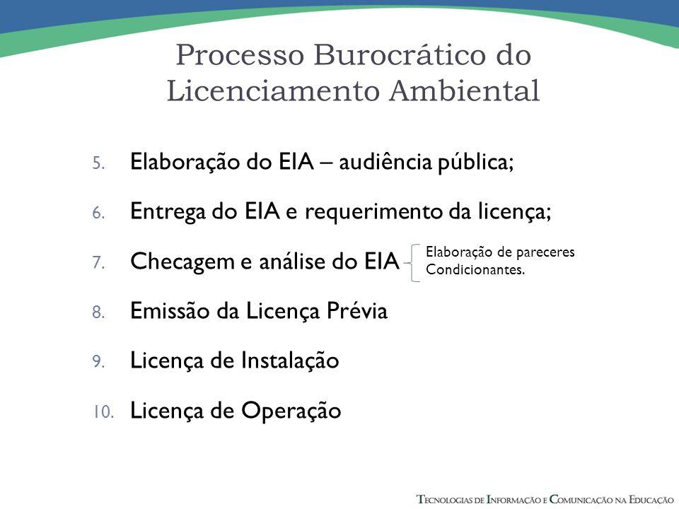 5. Elaboração do EIA – audiência pública; 6. Entrega do EIA e requerimento da licença; 7. Checagem e análise do EIA 8. Emissão da Licença Prévia 9. Li
