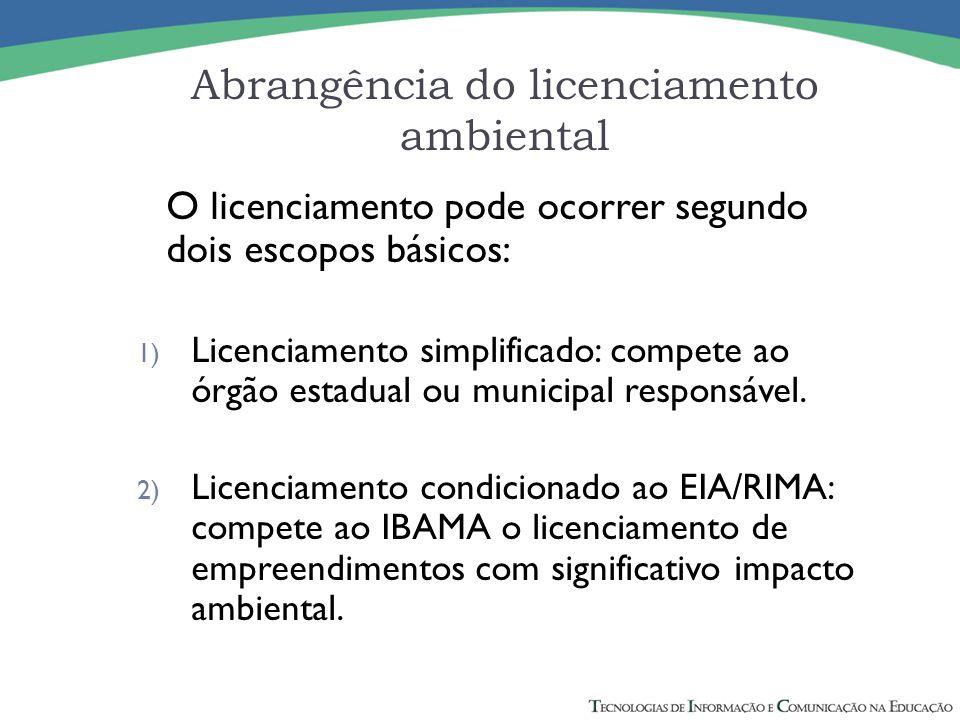 Abrangência do licenciamento ambiental O licenciamento pode ocorrer segundo dois escopos básicos: 1) Licenciamento simplificado: compete ao órgão esta