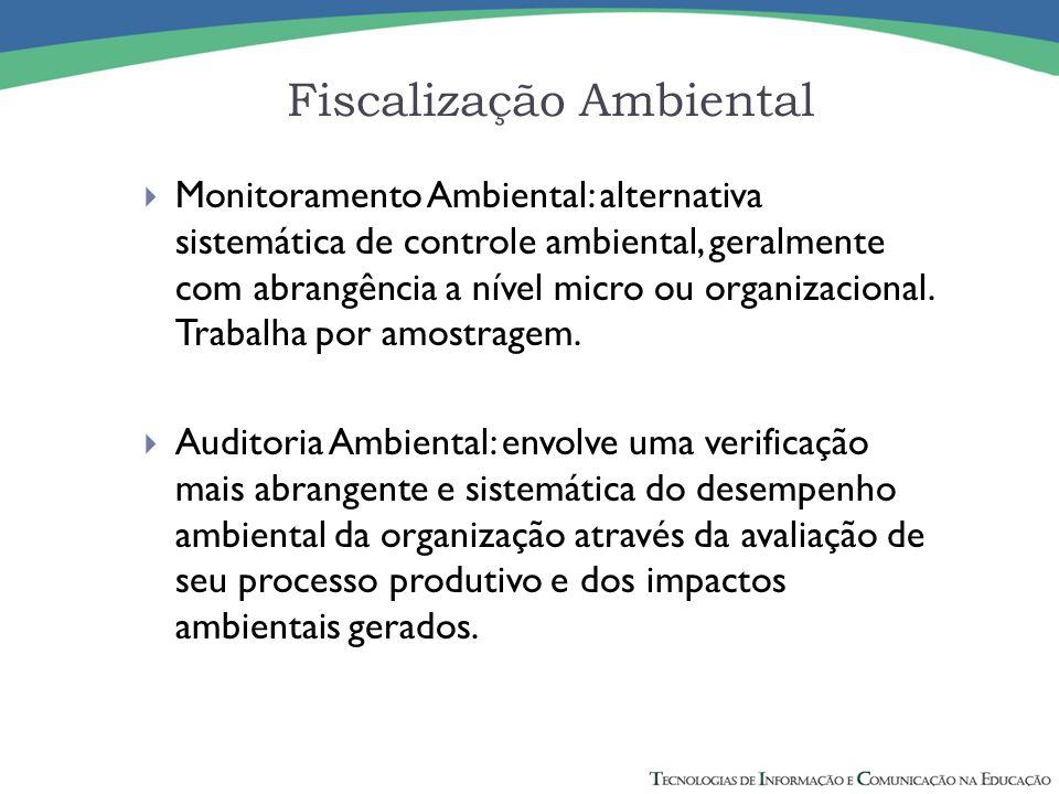  Monitoramento Ambiental: alternativa sistemática de controle ambiental, geralmente com abrangência a nível micro ou organizacional. Trabalha por amo