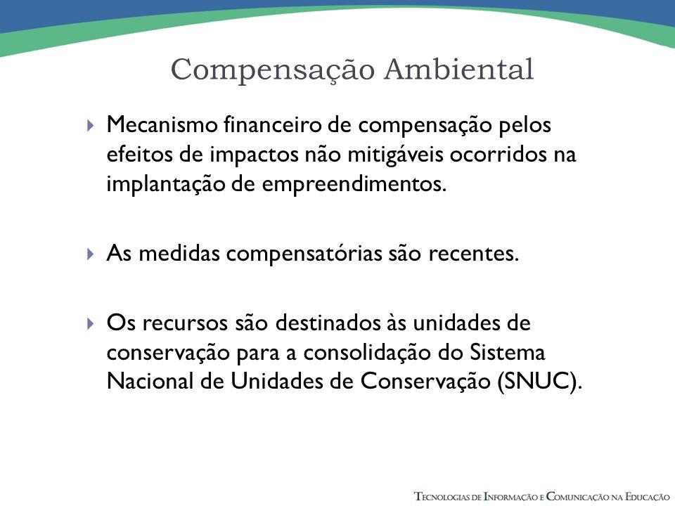 Compensação Ambiental  Mecanismo financeiro de compensação pelos efeitos de impactos não mitigáveis ocorridos na implantação de empreendimentos.  As