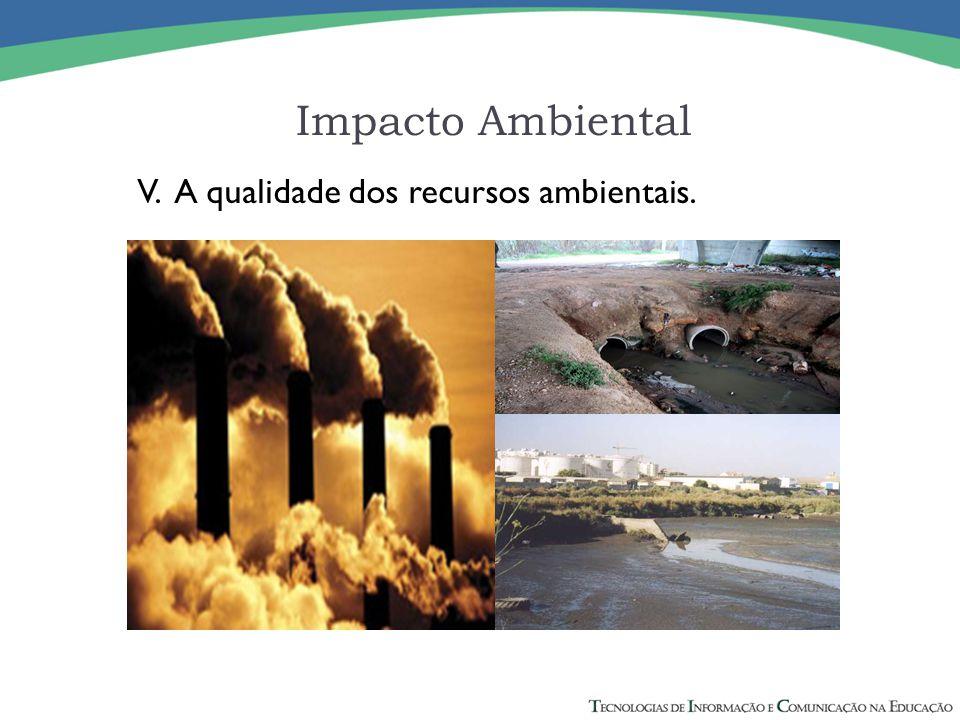 V. A qualidade dos recursos ambientais. Impacto Ambiental