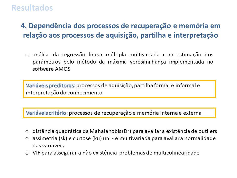 4. Dependência dos processos de recuperação e memória em relação aos processos de aquisição, partilha e interpretação Resultados o análise da regressã