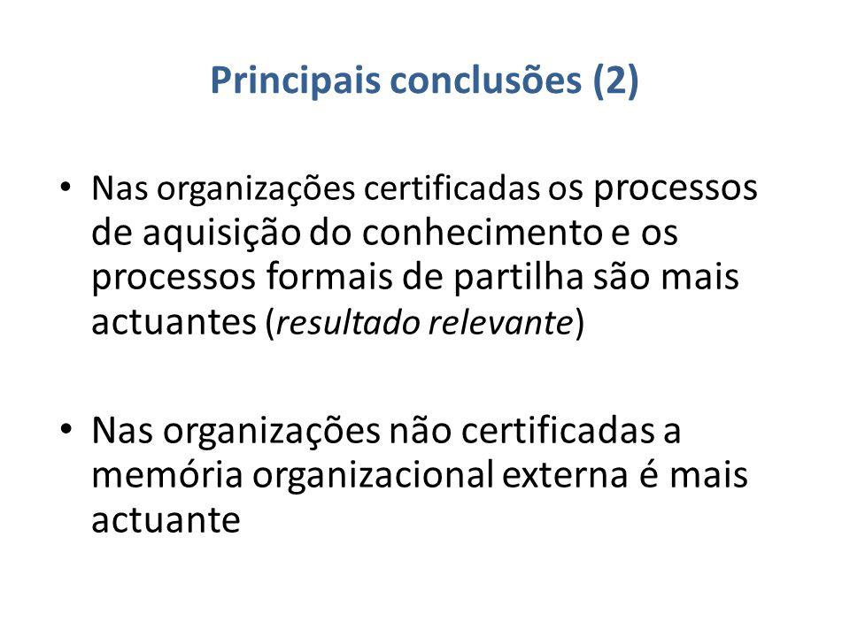 Principais conclusões (2) Nas organizações certificadas o s processos de aquisição do conhecimento e os processos formais de partilha são mais actuantes (resultado relevante) Nas organizações não certificadas a memória organizacional externa é mais actuante