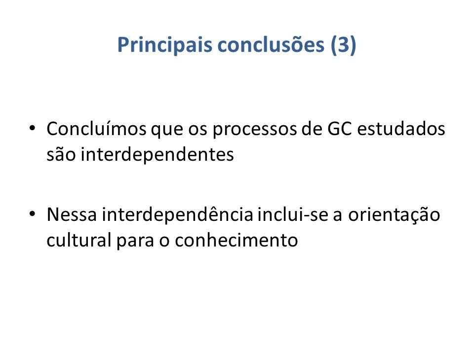 Principais conclusões (3) Concluímos que os processos de GC estudados são interdependentes Nessa interdependência inclui-se a orientação cultural para o conhecimento