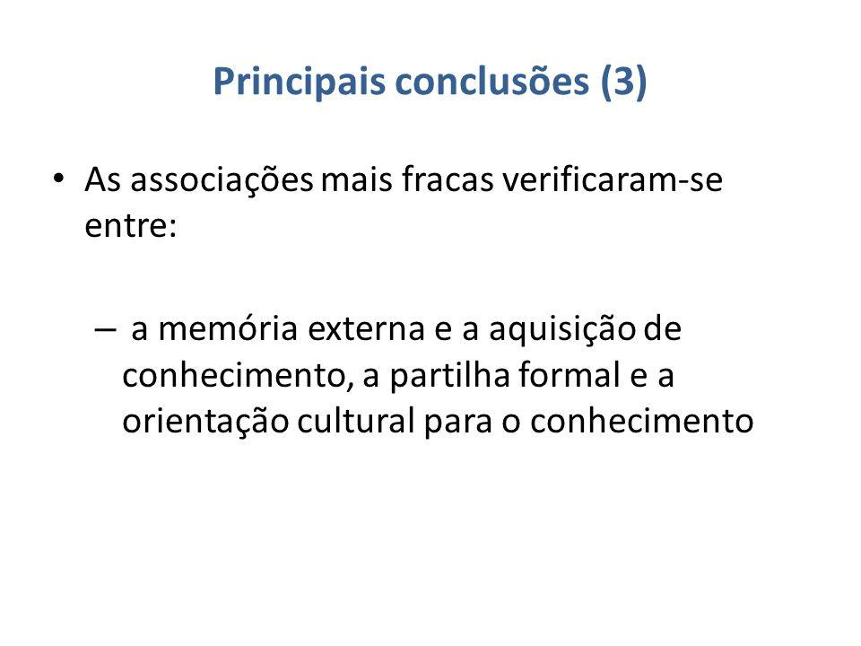 Principais conclusões (3) As associações mais fracas verificaram-se entre: – a memória externa e a aquisição de conhecimento, a partilha formal e a orientação cultural para o conhecimento