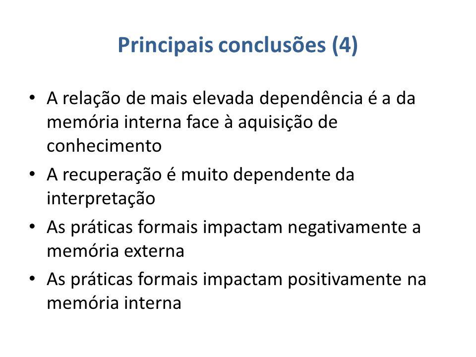 Principais conclusões (4) A relação de mais elevada dependência é a da memória interna face à aquisição de conhecimento A recuperação é muito dependente da interpretação As práticas formais impactam negativamente a memória externa As práticas formais impactam positivamente na memória interna