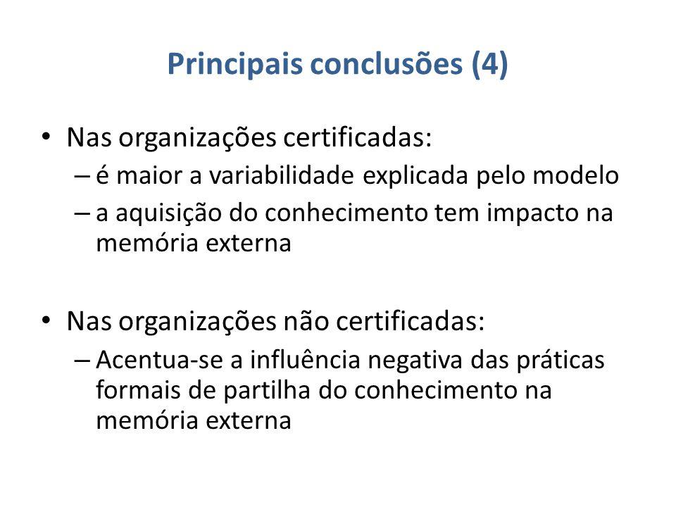 Principais conclusões (4) Nas organizações certificadas: – é maior a variabilidade explicada pelo modelo – a aquisição do conhecimento tem impacto na memória externa Nas organizações não certificadas: – Acentua-se a influência negativa das práticas formais de partilha do conhecimento na memória externa