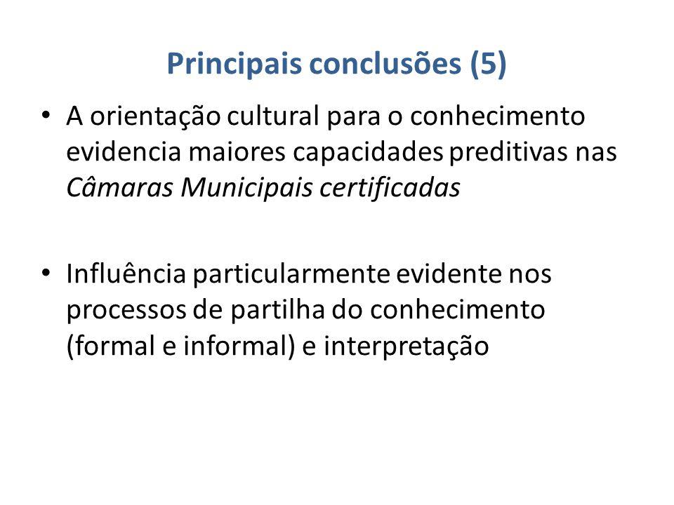 Principais conclusões (5) A orientação cultural para o conhecimento evidencia maiores capacidades preditivas nas Câmaras Municipais certificadas Influência particularmente evidente nos processos de partilha do conhecimento (formal e informal) e interpretação