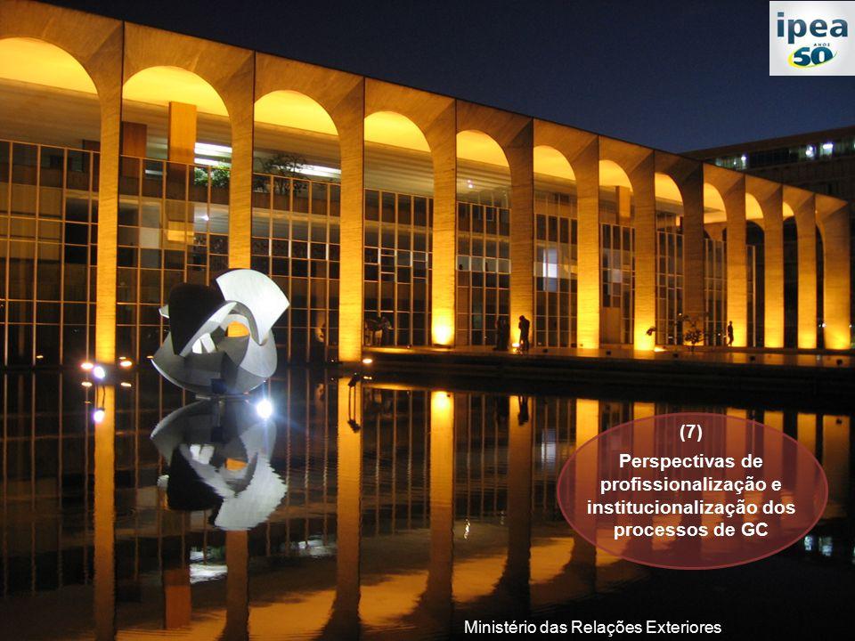 Ministério das Relações Exteriores (7) Perspectivas de profissionalização e institucionalização dos processos de GC