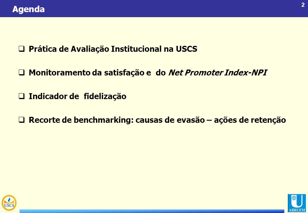 2 Agenda  Prática de Avaliação Institucional na USCS  Monitoramento da satisfação e do Net Promoter Index-NPI  Indicador de fidelização  Recorte d