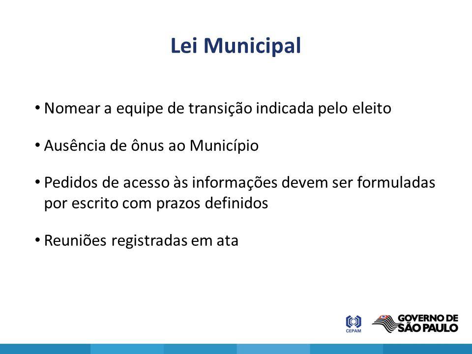 Lei Municipal Nomear a equipe de transição indicada pelo eleito Ausência de ônus ao Município Pedidos de acesso às informações devem ser formuladas po