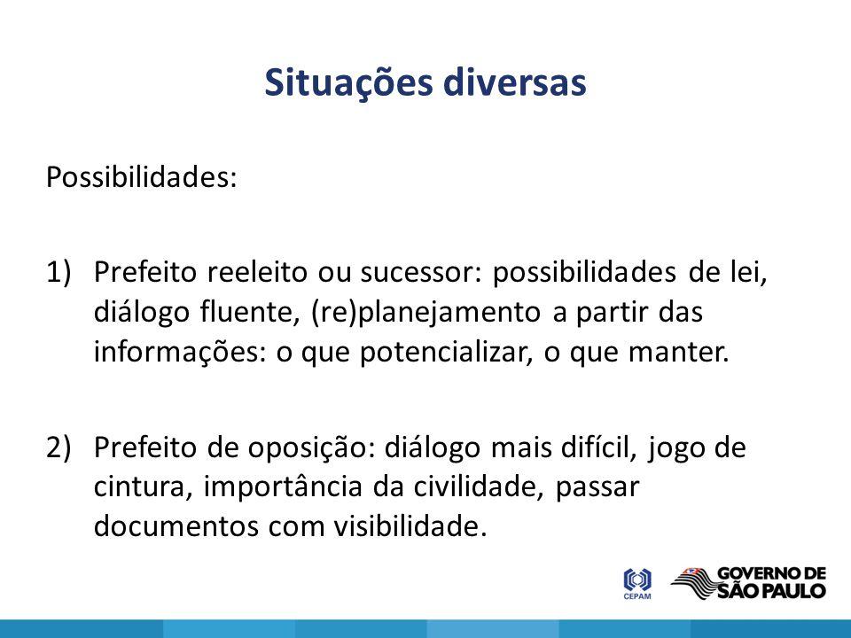 Situações diversas Possibilidades: 1)Prefeito reeleito ou sucessor: possibilidades de lei, diálogo fluente, (re)planejamento a partir das informações: